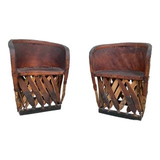 Vintage Mexican Equipale Chairs- a Pair For Sale
