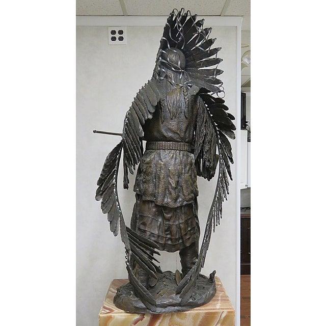 Metal Bronze Indian Sculpture Signed Carl Kauba For Sale - Image 7 of 13
