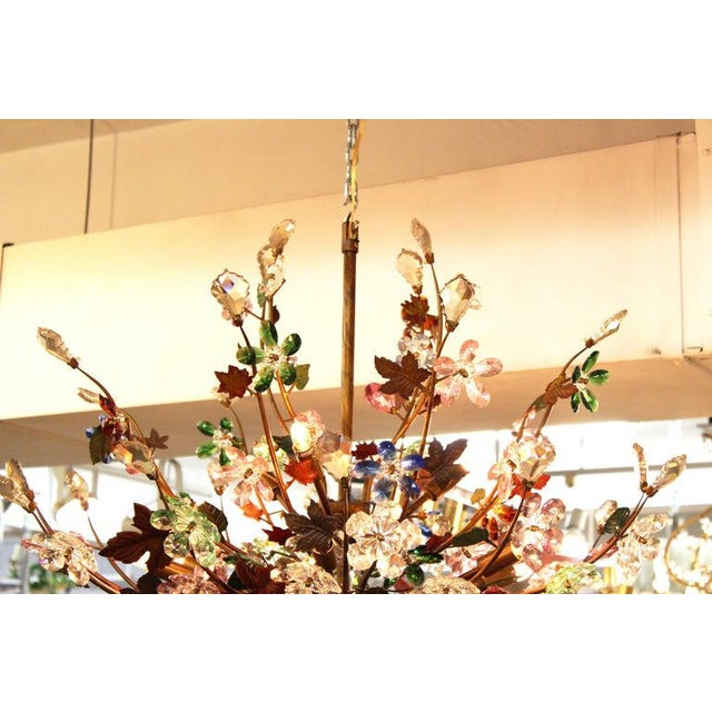 1970s Italian Mid-Century Modern Murano Glass Flower Bouquet Chandelier For Sale - Image 11 of 13