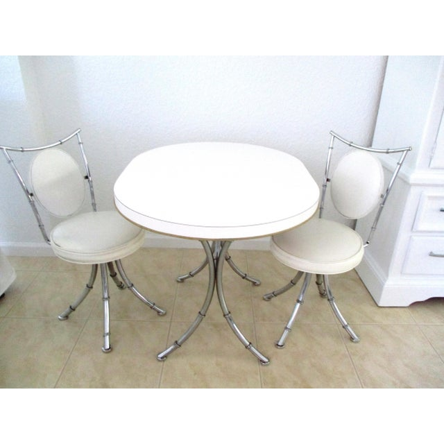 1950s Hollywood Regency White Design Dinette - 3 Piece Set For Sale - Image 10 of 11