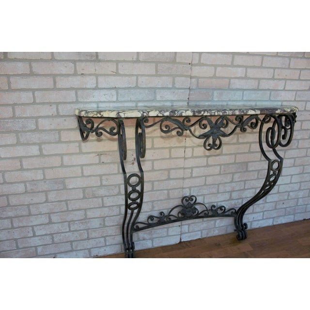 1930s Antique French Victorian Wrought Iron Base Console Table For Sale - Image 5 of 13