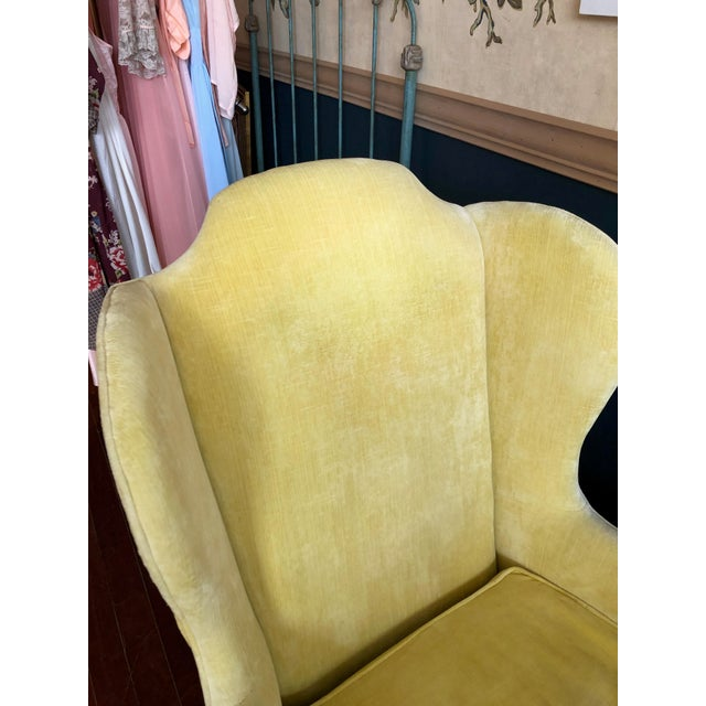Queen Anne Vintage Drexel Yellow Wingback Chairs- Pair For Sale - Image 3 of 13