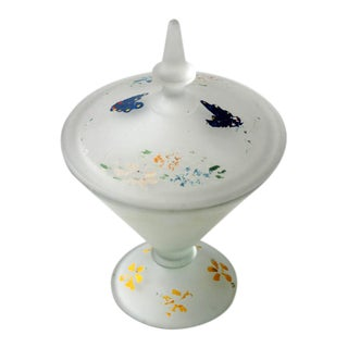 Vintage Painted Satin Glass Candy Dish For Sale