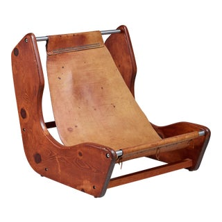 Studio craft leather sling lounge chair, USA, 1950s For Sale