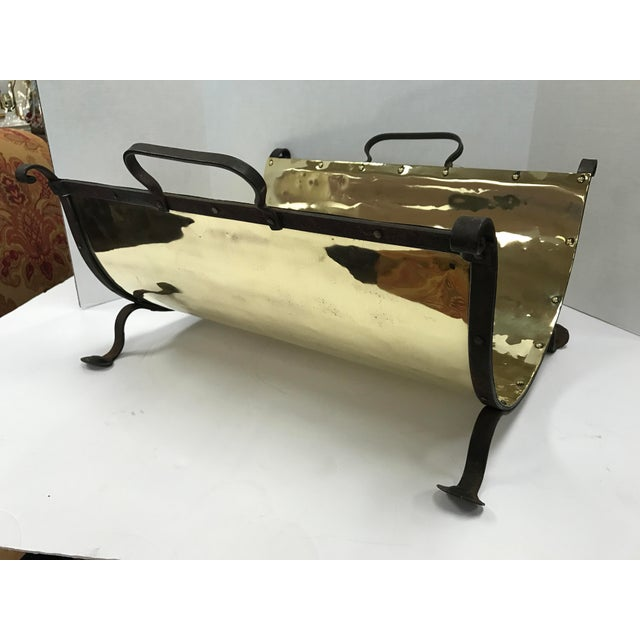Gold Antique Brass and Iron Firewood Log Holder For Sale - Image 8 of 8