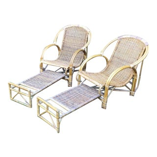 Vintage Rattan Lounge Chairs With Retractable Footrests - a Pair For Sale