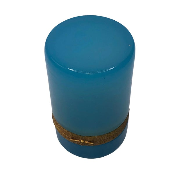 Mid 19th Century Tall French Blue Opaline Glass Box For Sale - Image 5 of 7