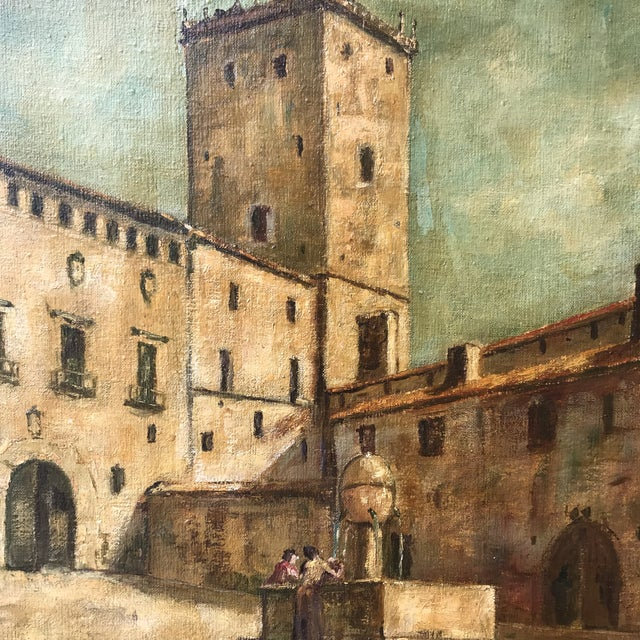 Mediterranean Vintage Mid-Century Medieval Spanish Village Original Signed Oil Painting For Sale - Image 3 of 11