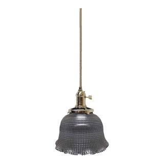 Cross Hatch Holophane Glass Shade Pendant Light For Sale