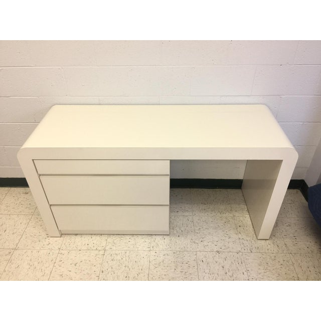 White Vintage White Lacquer Waterfall Desk For Sale - Image 8 of 9