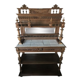 Antique Carved Buffet W/ Tile-Top & Mirrored Hutch For Sale
