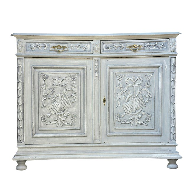 Traditional French Louis XVI-style Painted Buffet - Image 1 of 10