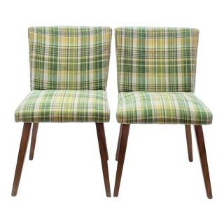Conant Ball Modern Mate by Leslie Diamond Upholstered Plaid Chairs- A Pair For Sale