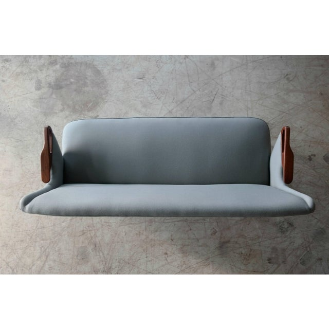 Sven Skipper Attributed 1950s Small Sofa in Wool and Teak Danish, Midcentury For Sale - Image 9 of 11