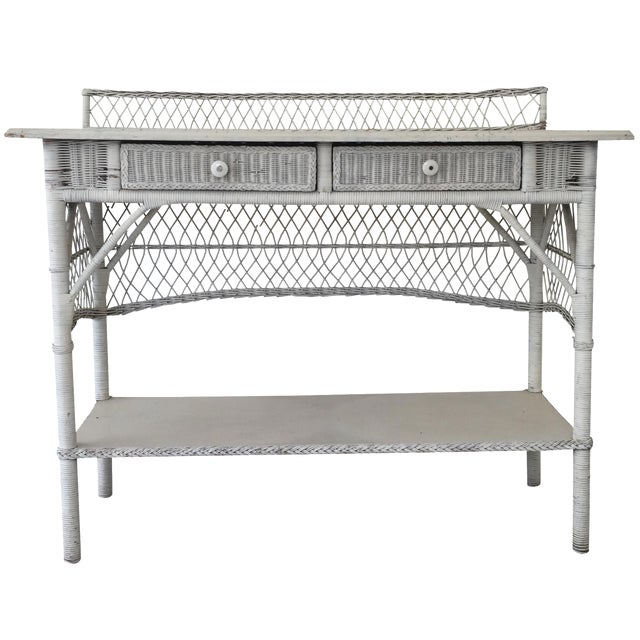 Antique White Wicker Console - Image 1 of 8