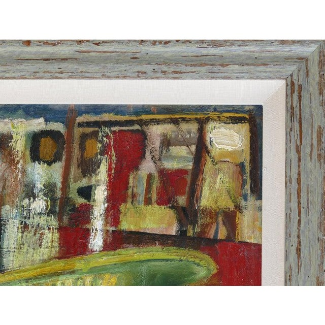 Wood 1960 Wpa Style Fishing Boatyard Oil Painting For Sale - Image 7 of 10