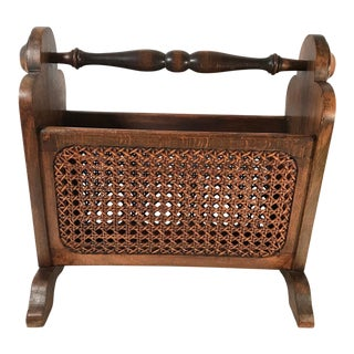 20th Century French Wood and Cane Magazine Stand For Sale