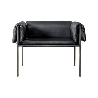 Flow Blackened Steel and Leather Armchair by Atra For Sale