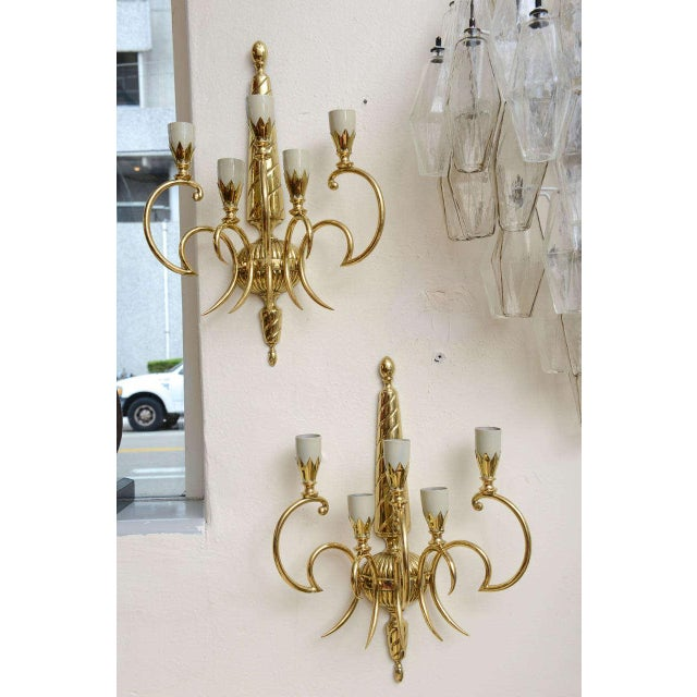 Italian Brass Sconces - Pair For Sale In Miami - Image 6 of 9
