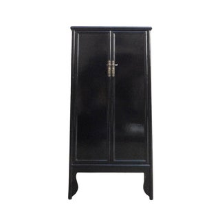 Chinese Oriental Black Lacquer Armoire