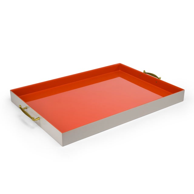 Large Tray in Warm Grey / Orange - Pentreath & Hall for The Lacquer Company For Sale - Image 4 of 4