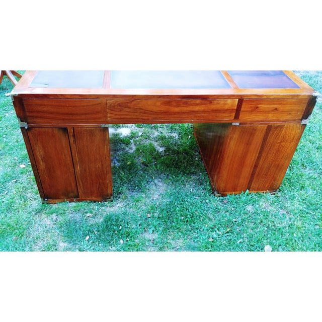 Traditional Starbay Rosewood Richelieu Leather Top Executive Desk For Sale - Image 4 of 13