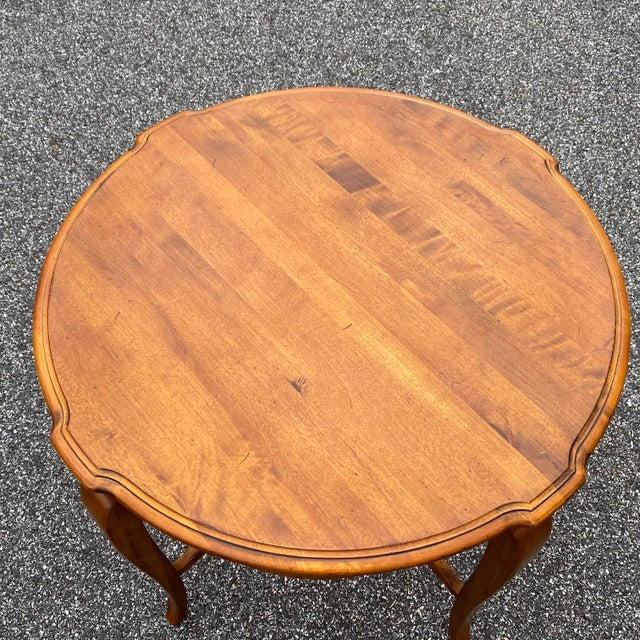 Ethan Allen made in America solid cherry side table from the Country French series. Model 26-8204 Finish 216