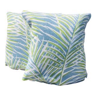 Thibault Outdoor / Indoor Palm Pillows - A Pair For Sale