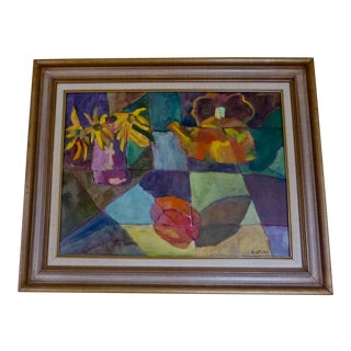 Mid-Century Modern Abstract Still Life Painting For Sale
