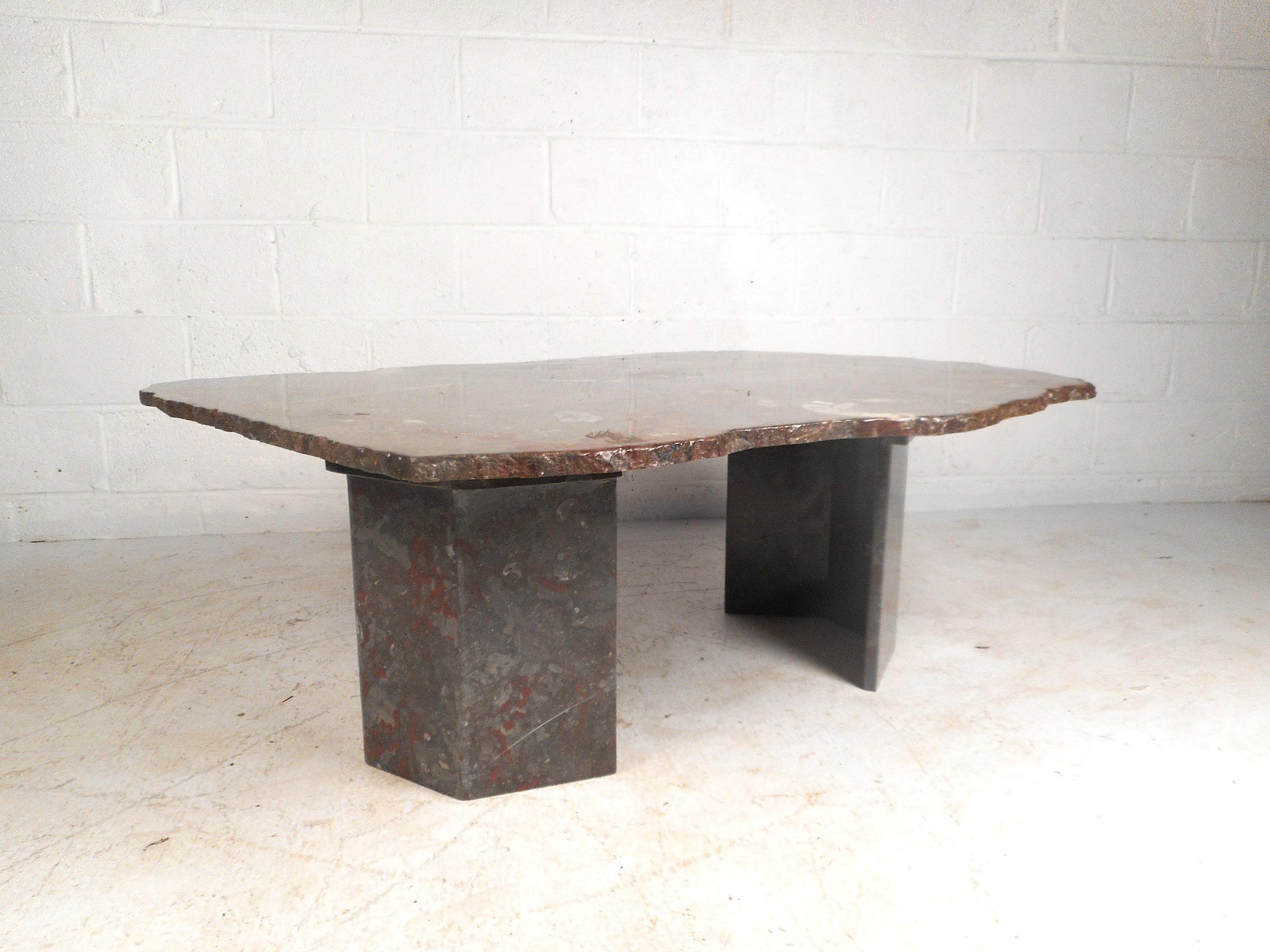 Contemporary Modern Free Form Granite Coffee Table For Sale   Image 10 Of 10