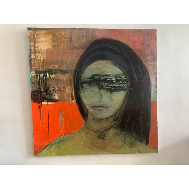 Red Large James Swinson Acrylic on Plywood & Plaster Painting For Sale - Image 8 of 11