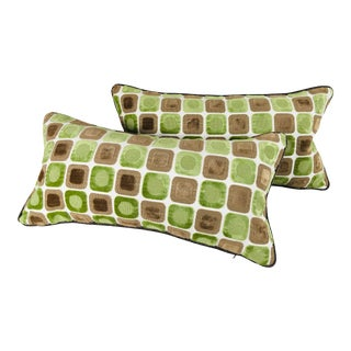 Modern Cut Velvet Pillows - a Pair For Sale