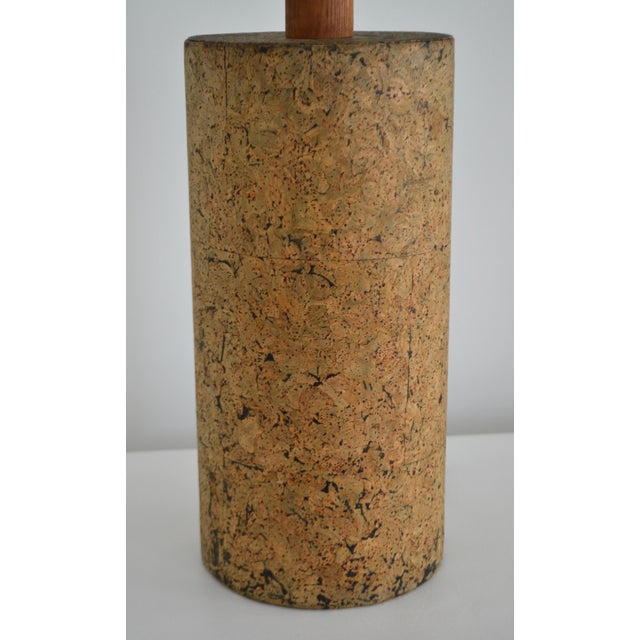 Metal Mid-Century Cylindrical Form Cork Table Lamp For Sale - Image 7 of 11