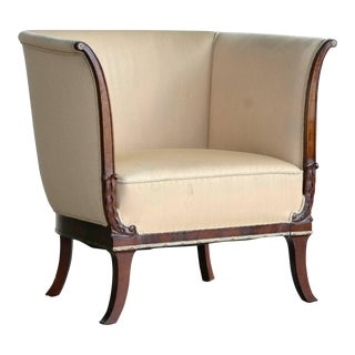 Danish Mahogany Neoclassical Bergere Chair Early 20th Century For Sale