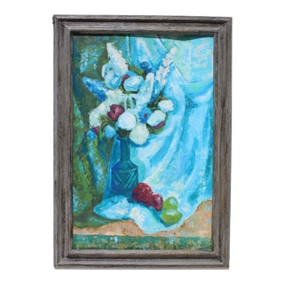 1960s Vintage Cheryl Hall Floral Still Life Oil Painting For Sale