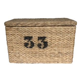 1960s Woven Storage Basket with 33 Stencil For Sale
