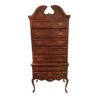 1970s Country Style Wooden Highboy Dresser For Sale