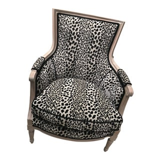 1970s Vintage French Bergere Leopard Print Chair For Sale