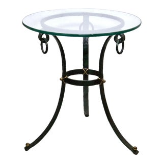 Round Iron and Glass Top Side Table