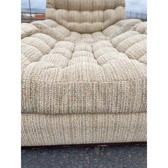 1960s Vintage Deep Biscuit Tommy Tufted Lounge Chair and Ottoman For Sale - Image 5 of 13