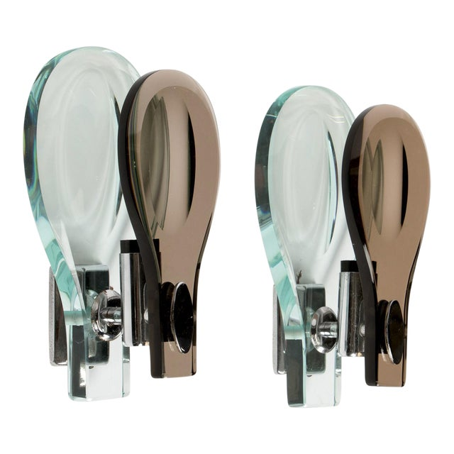 Italian Glass Sconces by Max Ingrand for Fontana Arte - a Pair - Image 1 of 6