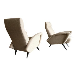 Mid-Century Modern Sculptural Italian Tan Lounge Chairs - a Pair
