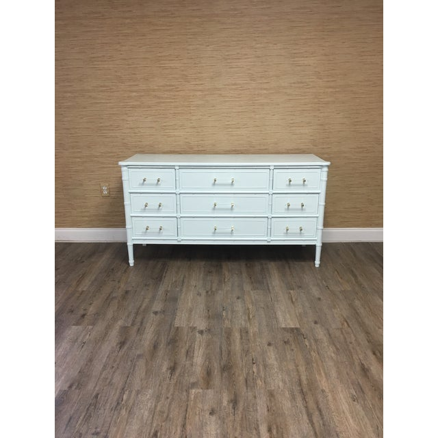 A beautiful and classic vintage Henry Link faux bamboo dresser with 9 drawers professionally lacquered Ben Moore White...