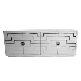 Contemporary White Lacquer Geometric Four Door Credenza/Sideboard For Sale