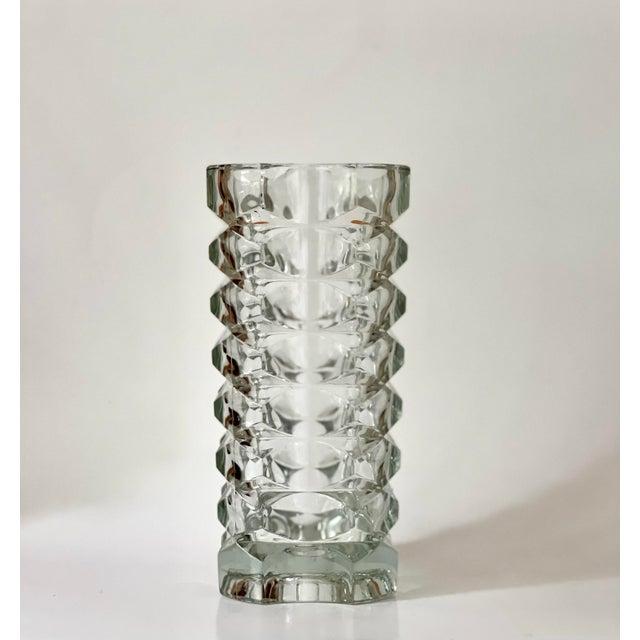 Glass Vintage Art Deco Geometric Pattern Heavy Cut Crystal Luminarc France Art Glass Windsor Vase For Sale - Image 7 of 7