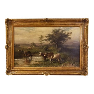 "Oil on Canvas, Johan G. L. Riecke ""Cattle in a Pasture on a Cloudy Day"" For Sale"