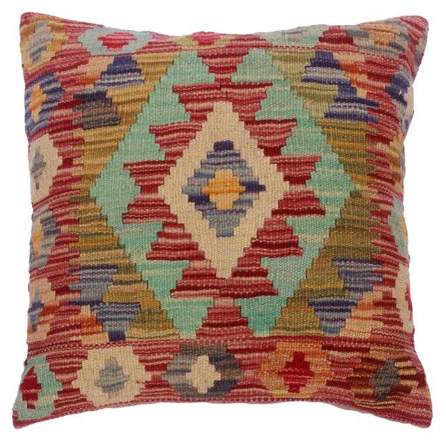 "Cheryll Rust/Ivory Hand-Woven Kilim Throw Pillow(18""x18"") For Sale"