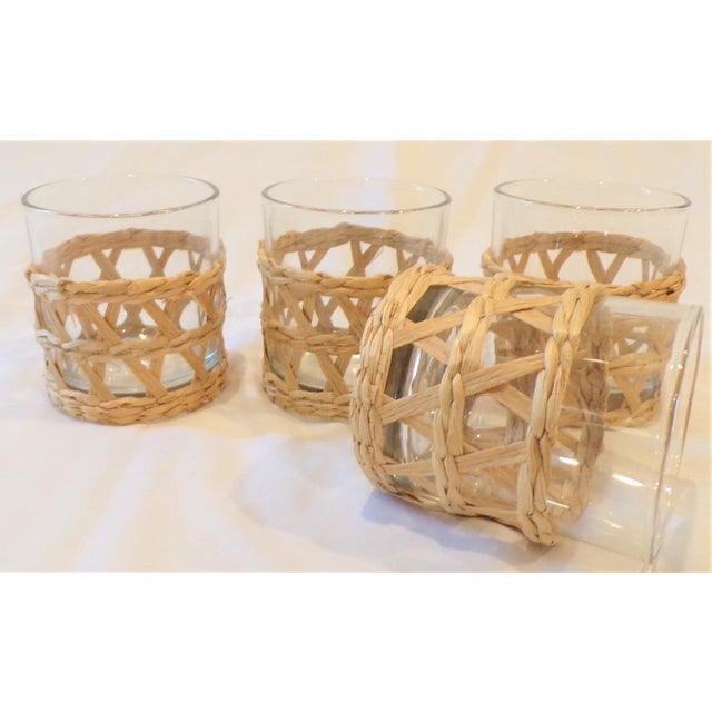 1990s Vintage Rafia Wrapped Double Old Fashion Glasses - Set of 4 For Sale - Image 5 of 9