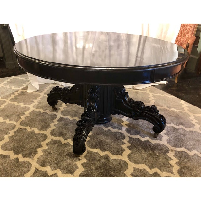 Highly polished black lacquered Napoleon III center table. Well polished this baby up till it has a yard shine (Naval term...