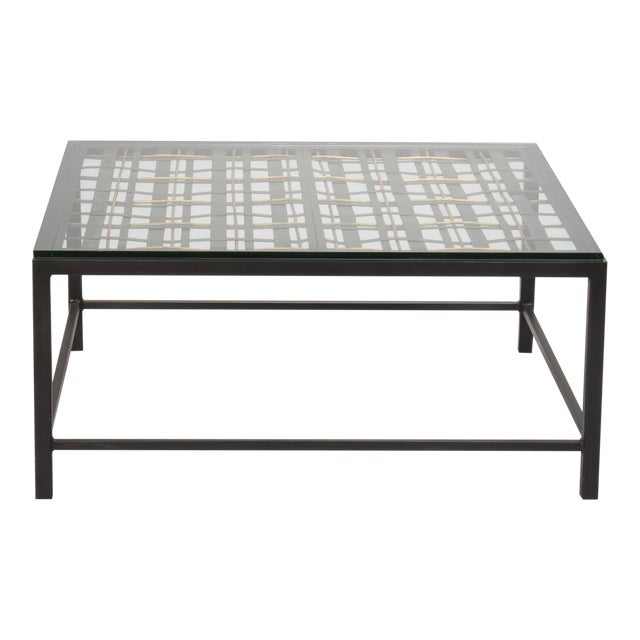 Custom Coffee Table Made from French Decorative Metal Grill For Sale